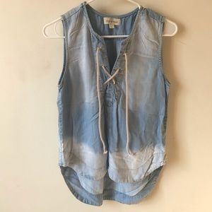 Cloth and Stone Chambray Lace Up Tank